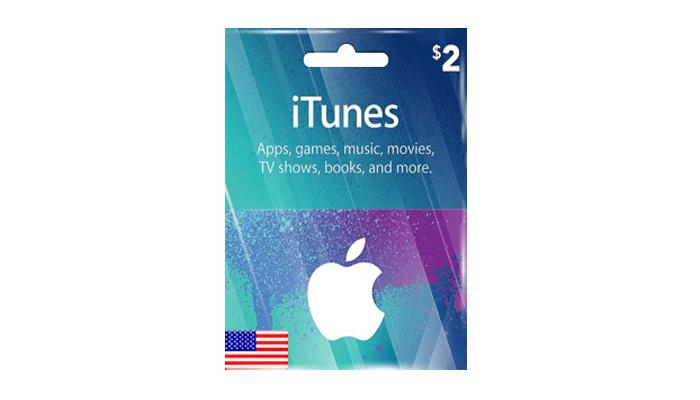 بطاقة ايتونز 2 دولار ( اي تيونز المتجر الامريكي )